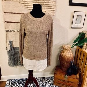 Double Layered Look Brown Knit Sweater